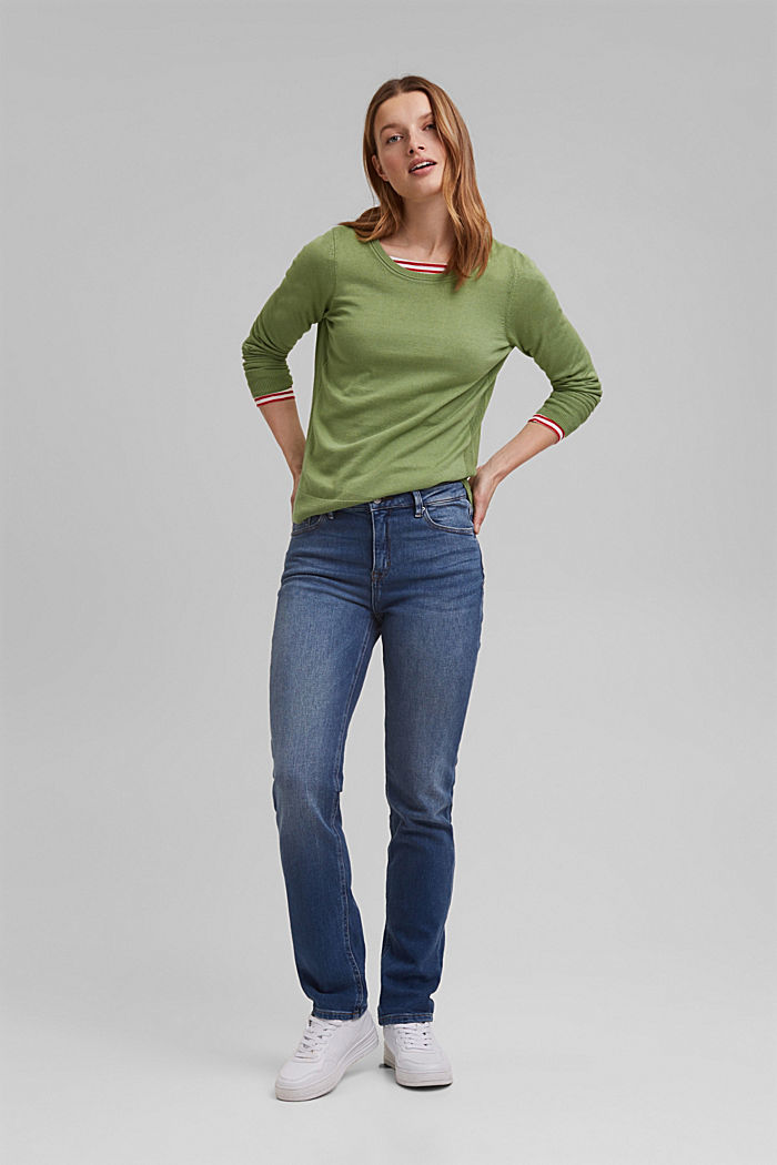 Basic jumper with organic cotton, LEAF GREEN, detail image number 1