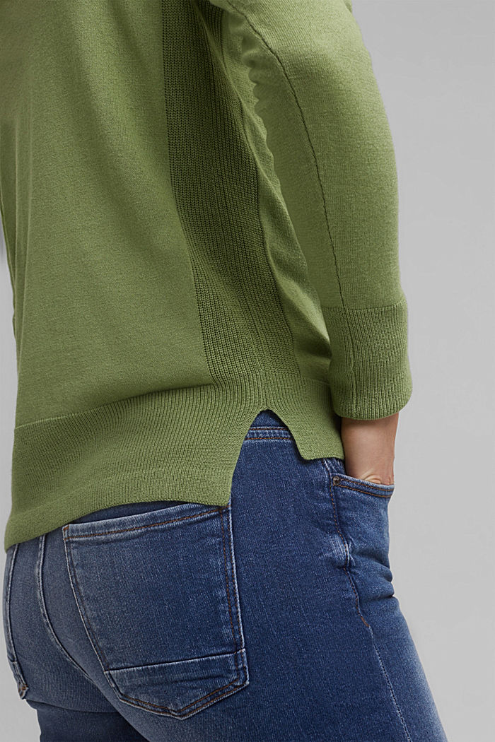Basic jumper with organic cotton, LEAF GREEN, detail image number 2
