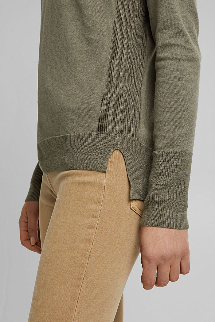 Basic jumper with organic cotton, LIGHT KHAKI, detail image number 2