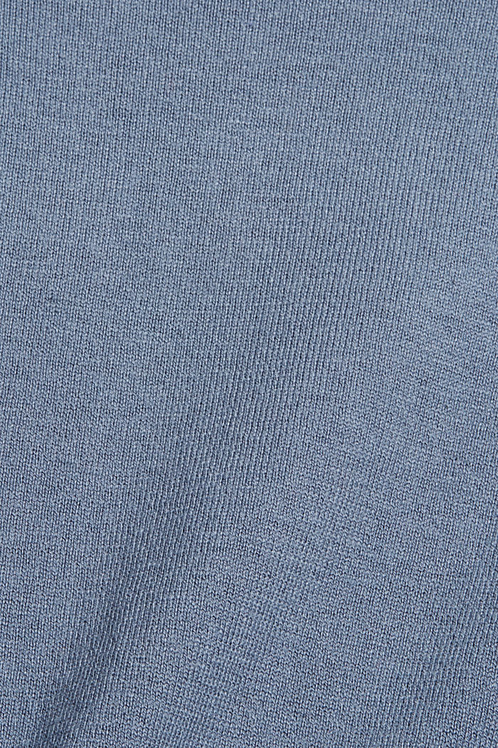 Pullover basic con cotone biologico, GREY BLUE, detail image number 4