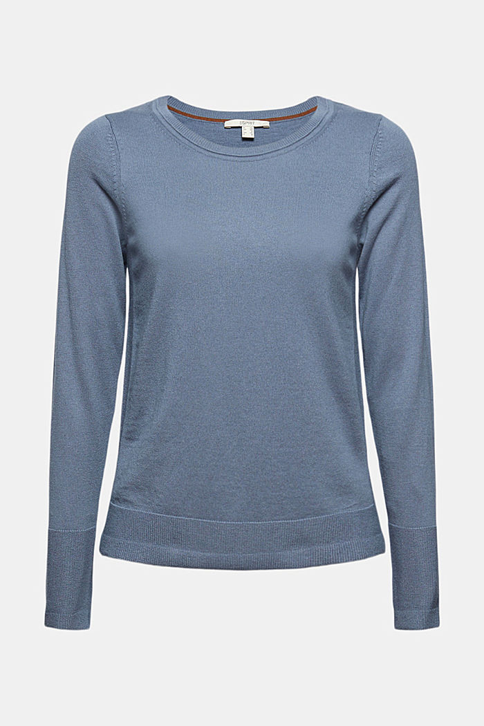 Pullover basic con cotone biologico, GREY BLUE, detail image number 6