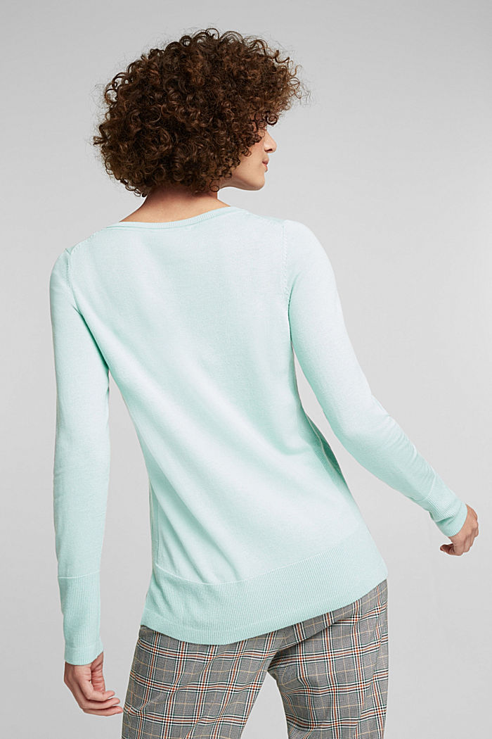 Basic jumper with organic cotton, LIGHT TURQUOISE, detail image number 3