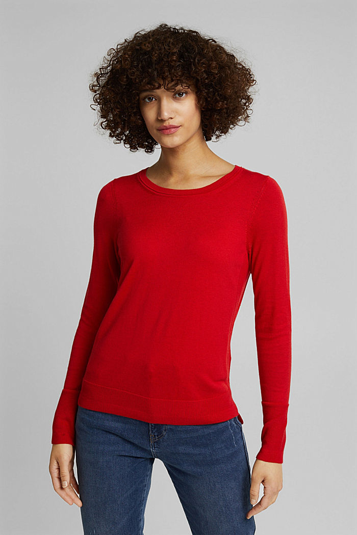 Basic jumper with organic cotton, RED, overview