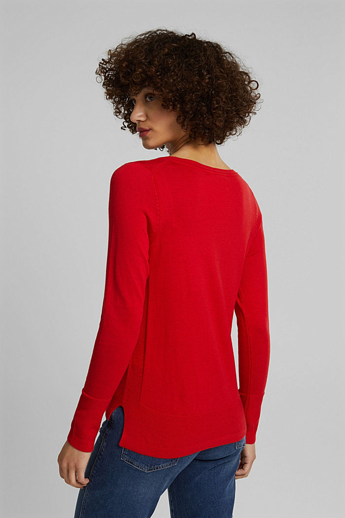 Pullover basic con cotone biologico, RED, detail image number 3