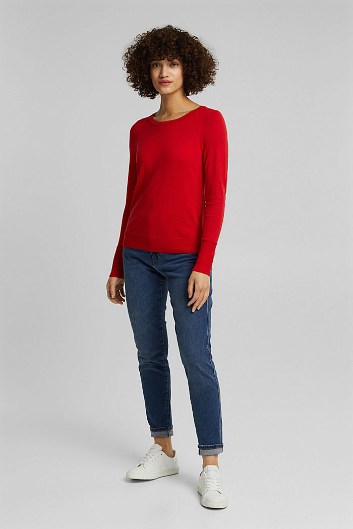 Basic jumper with organic cotton, RED, detail image number 4