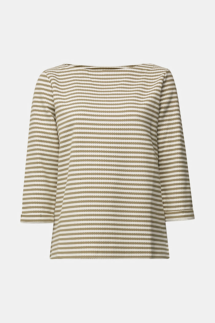 Textured sweatshirt in organic cotton, LIGHT KHAKI, detail image number 5