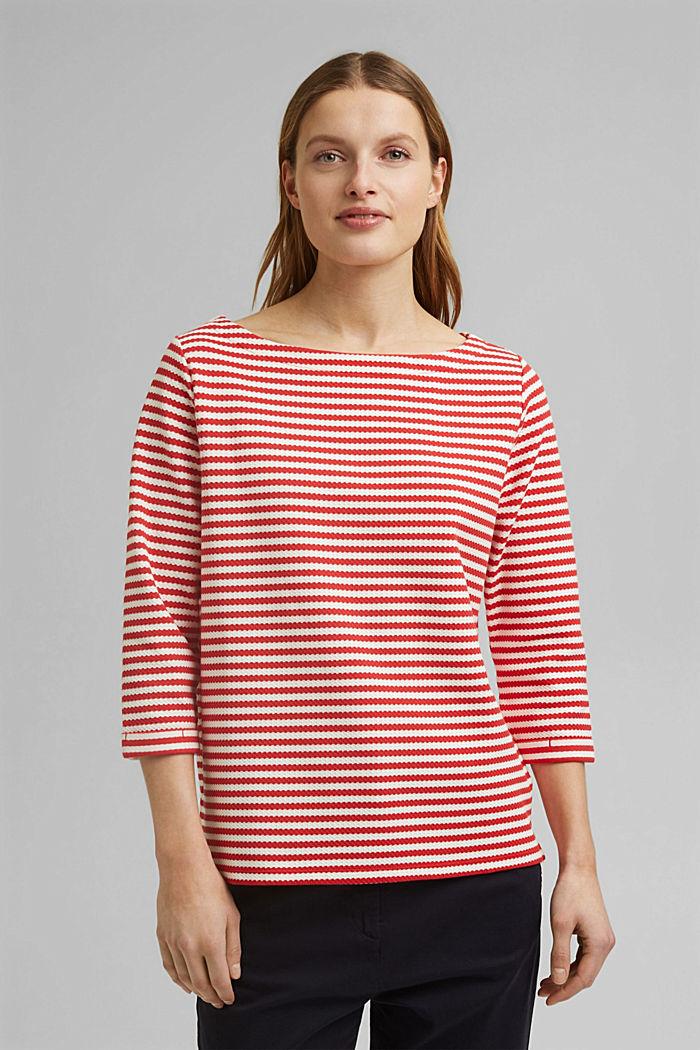 Strukturiertes Sweatshirt aus Organic Cotton, RED, detail image number 0