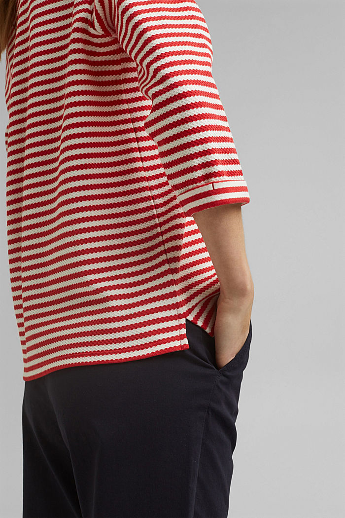 Strukturiertes Sweatshirt aus Organic Cotton, RED, detail image number 2