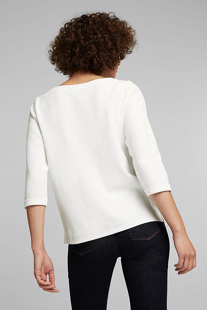 Strukturiertes Sweatshirt aus Organic Cotton, OFF WHITE, detail image number 3