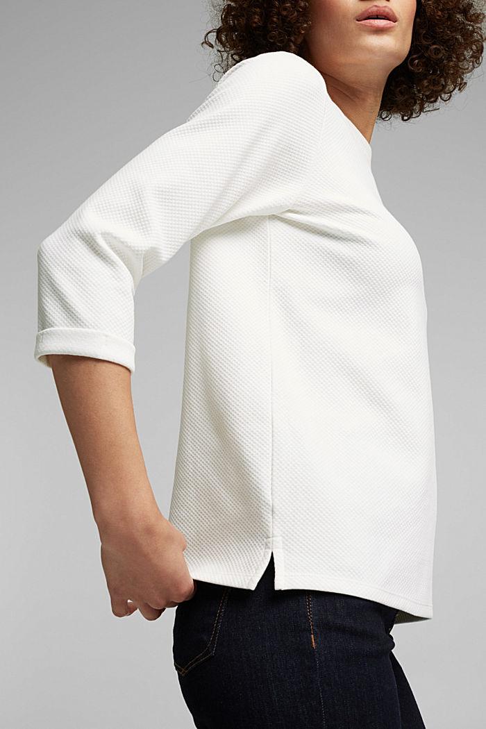 Strukturiertes Sweatshirt aus Organic Cotton, OFF WHITE, detail image number 2