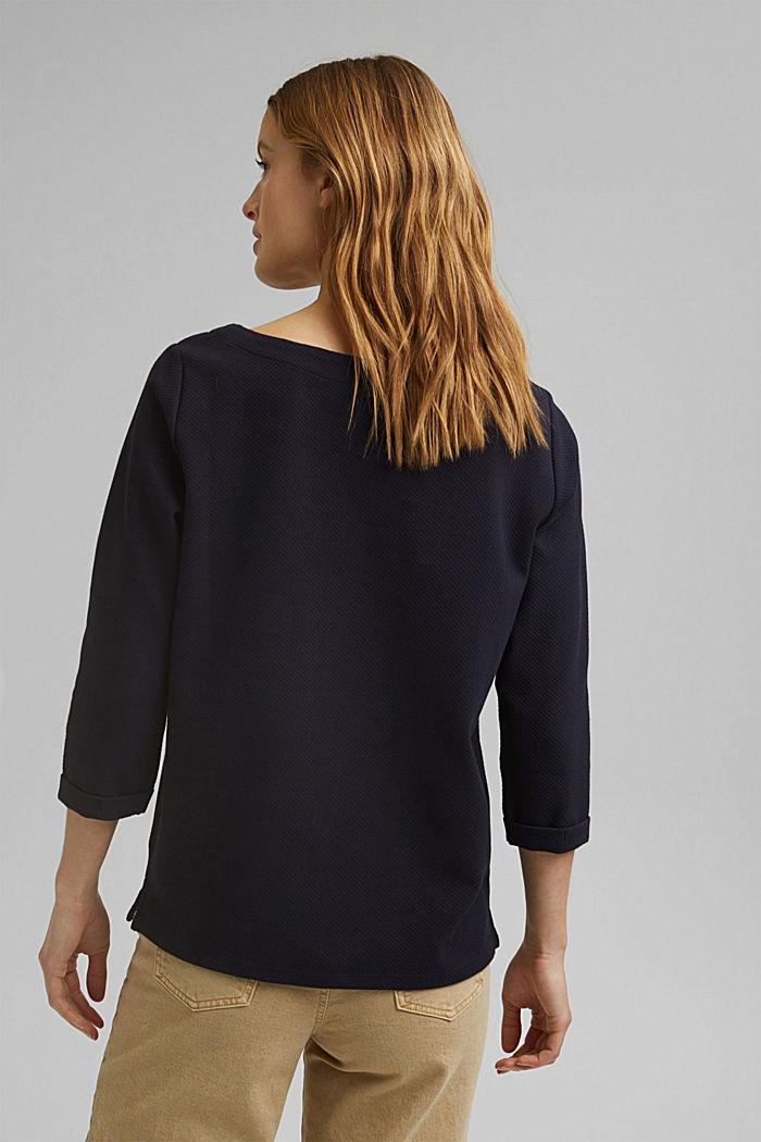 Textured sweatshirt in organic cotton, NAVY, detail image number 3