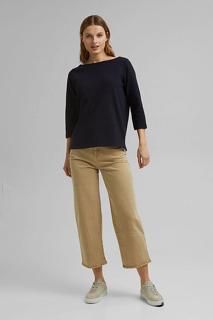 Textured sweatshirt in organic cotton, NAVY, detail image number 5