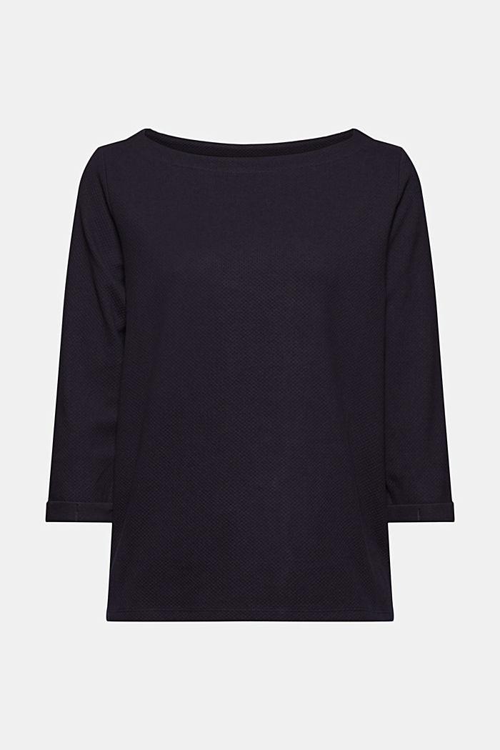 Textured sweatshirt in organic cotton, NAVY, detail image number 6