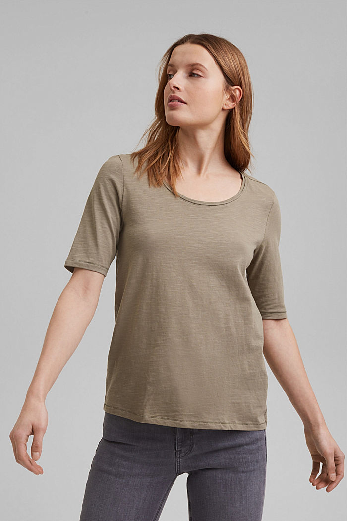 T-Shirt aus 100% Organic Cotton, LIGHT KHAKI, detail image number 0