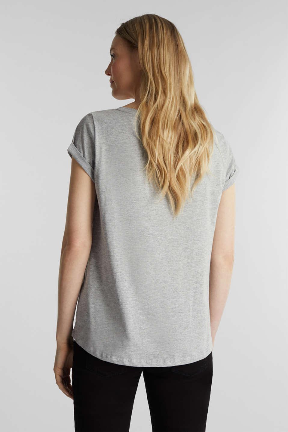 Melange T-shirt with a logo print, MEDIUM GREY 5, detail image number 3