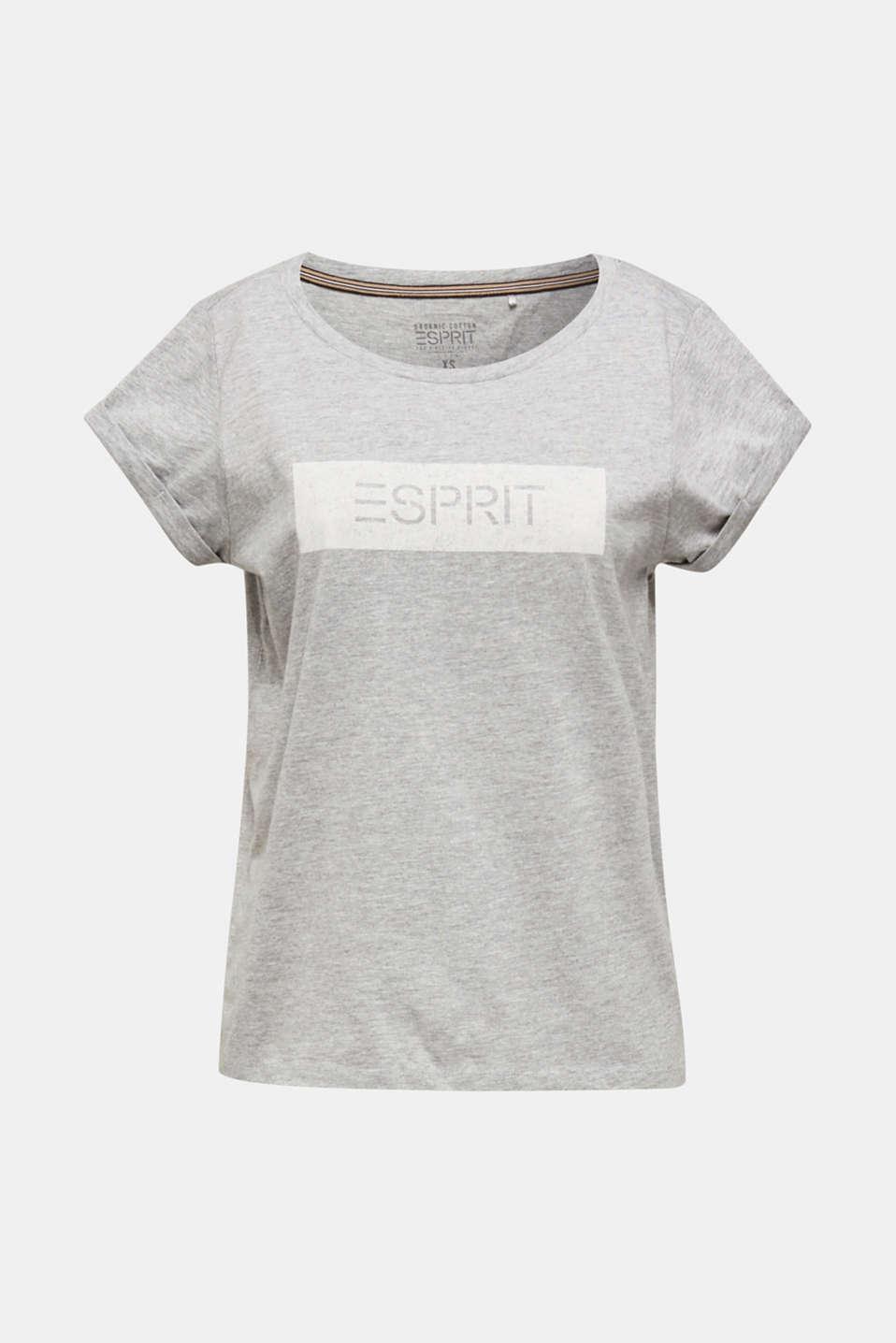 Melange T-shirt with a logo print, MEDIUM GREY 5, detail image number 5