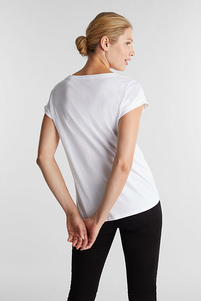 Top with a logo print, 100% cotton, WHITE, detail image number 3