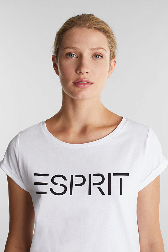 Top with a logo print, 100% cotton, WHITE, detail image number 5