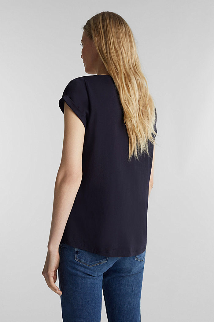 Top with a logo print, 100% cotton, NAVY, detail image number 3