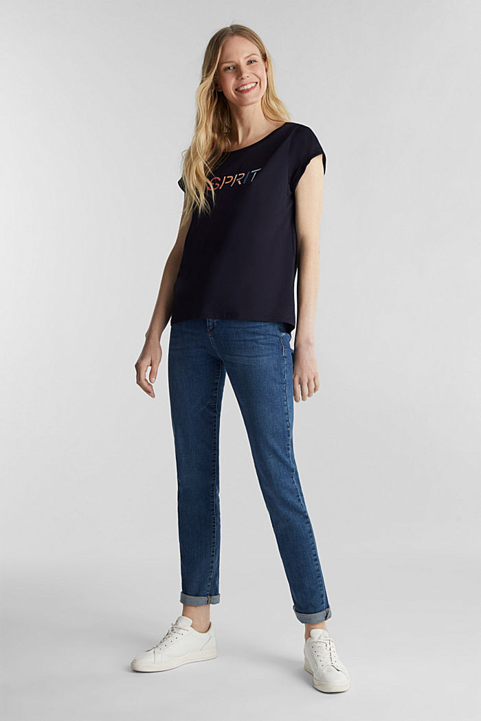 Top with a logo print, 100% cotton, NAVY, detail image number 1