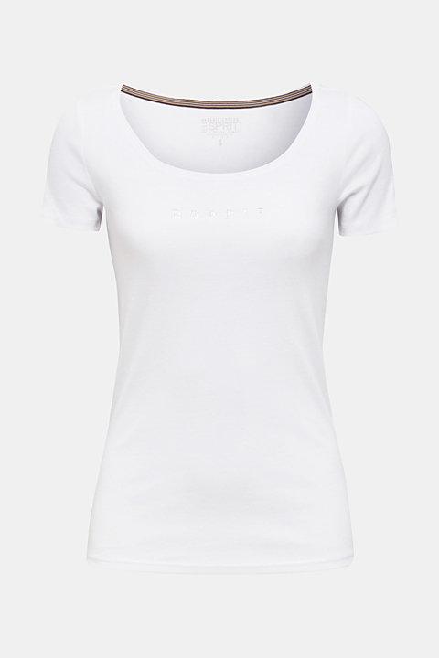 T-shirt with a rhinestone logo, 100% cotton
