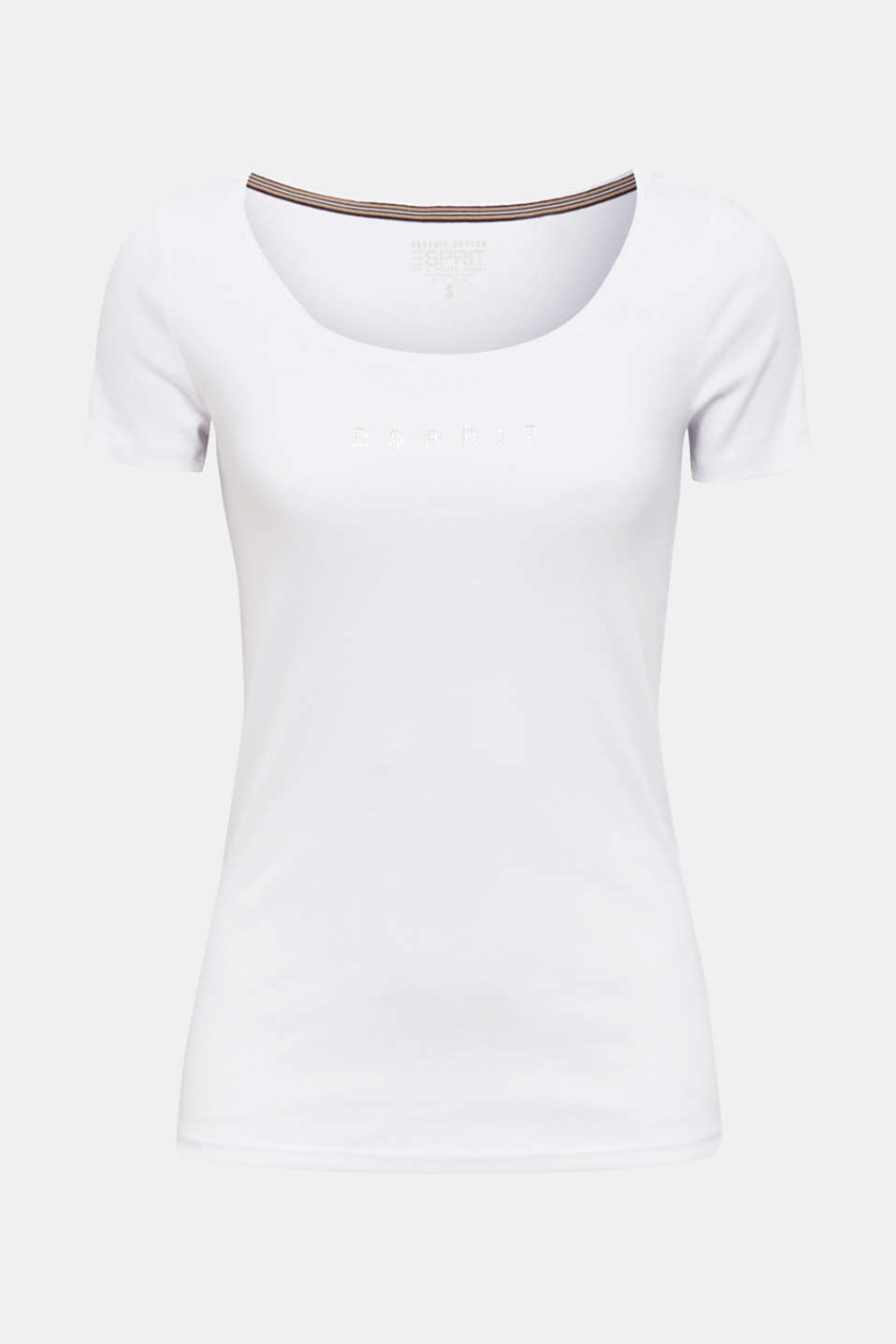 Rhinestone logo top, 100% cotton, WHITE, detail image number 5