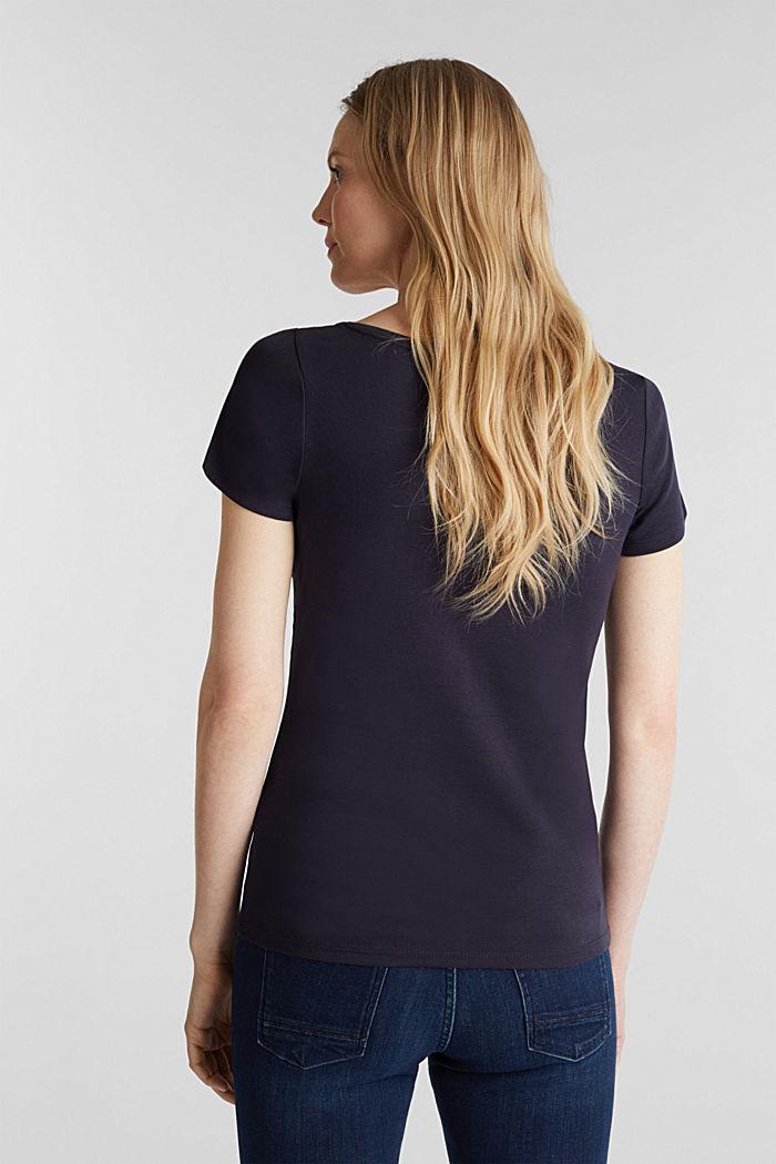 T-Shirt mit Strass-Logo, 100% Bio-Baumwolle, NAVY, detail image number 3