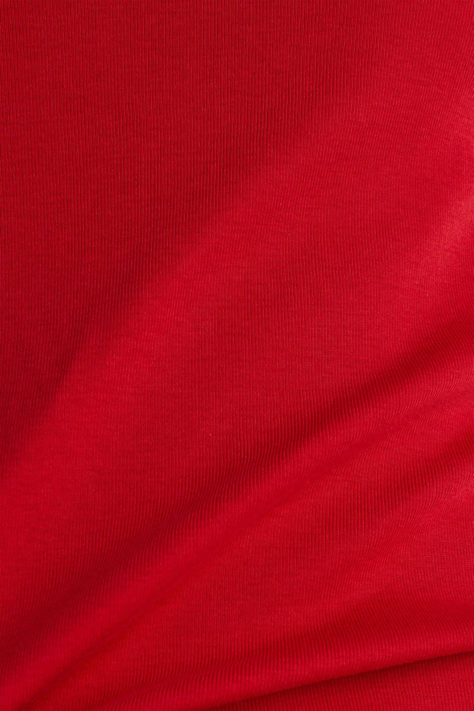 Rhinestone logo top, 100% cotton, DARK RED, detail image number 4