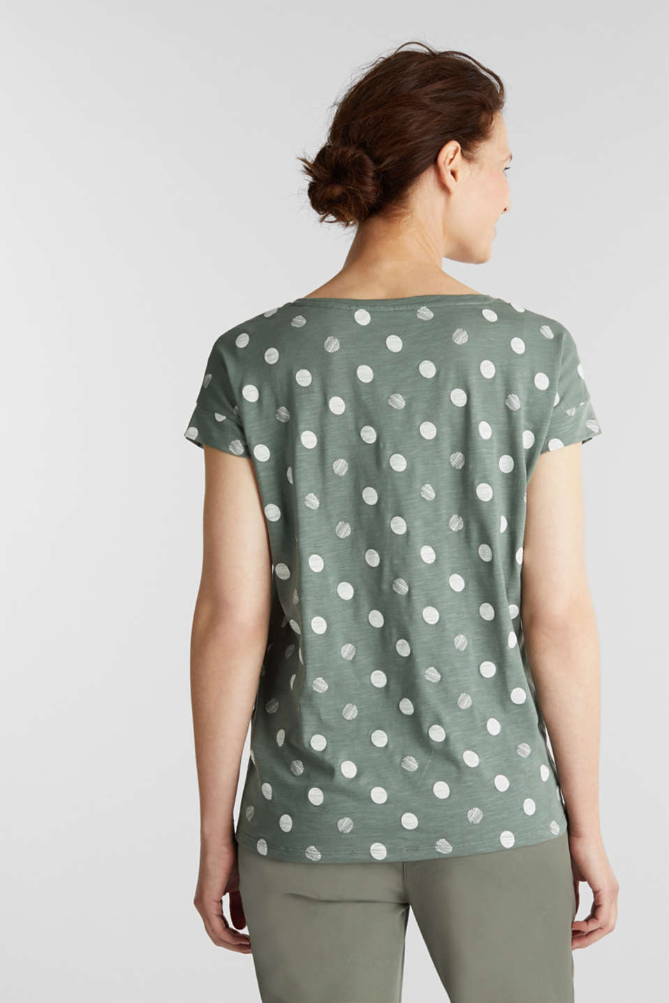 T-shirt with a print, 100% organic cotton, KHAKI GREEN, detail image number 2