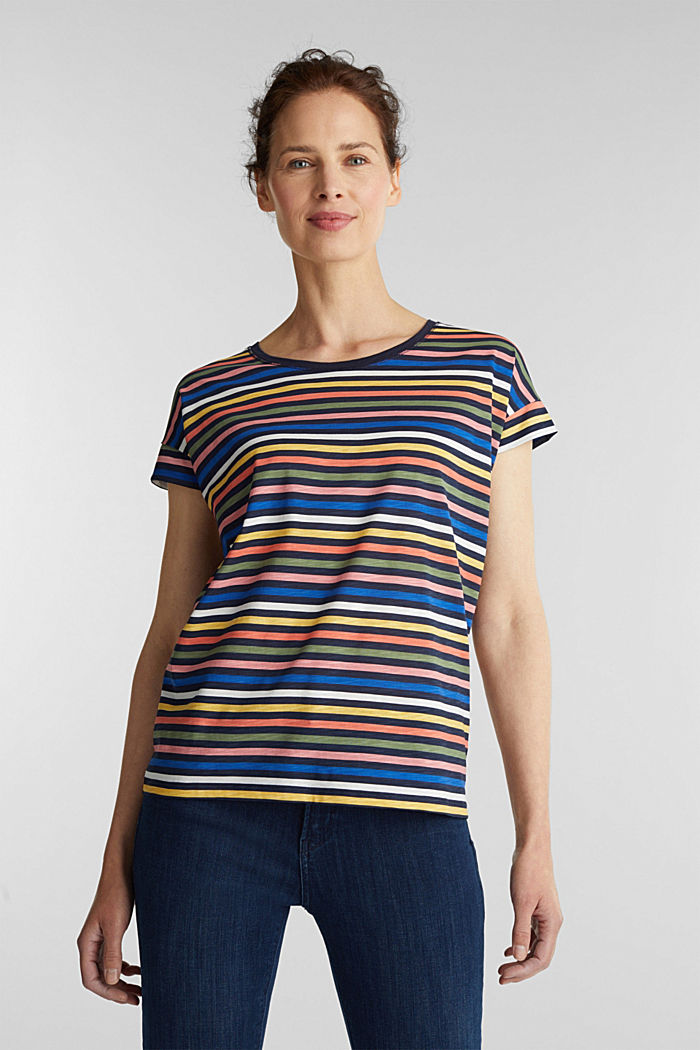 T-shirt with a print, 100% organic cotton, NAVY BLUE, detail image number 0