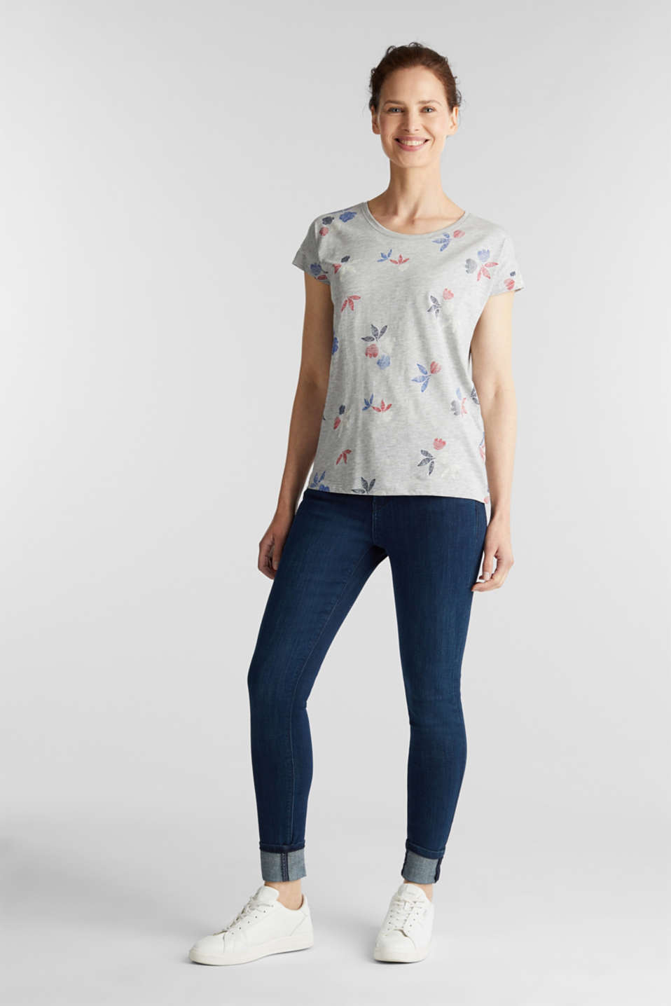 Melange top with a print, LIGHT GREY 5, detail image number 1