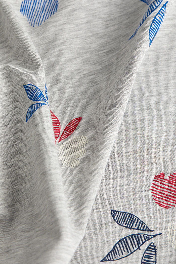 Melange top with a print, LIGHT GREY, detail image number 4