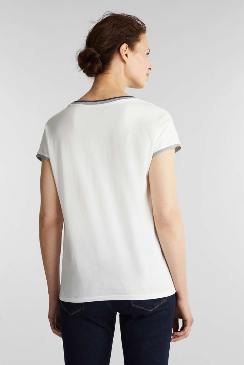 T-shirt with glittering trims, 100% cotton, OFF WHITE, detail image number 2