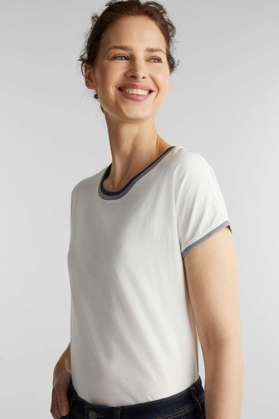 T-shirt with glittering trims, 100% cotton, OFF WHITE, detail image number 4