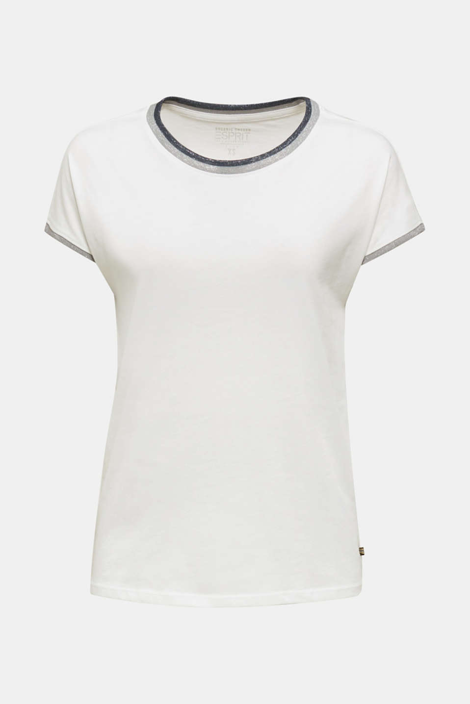 T-shirt with glittering trims, 100% cotton, OFF WHITE, detail image number 5