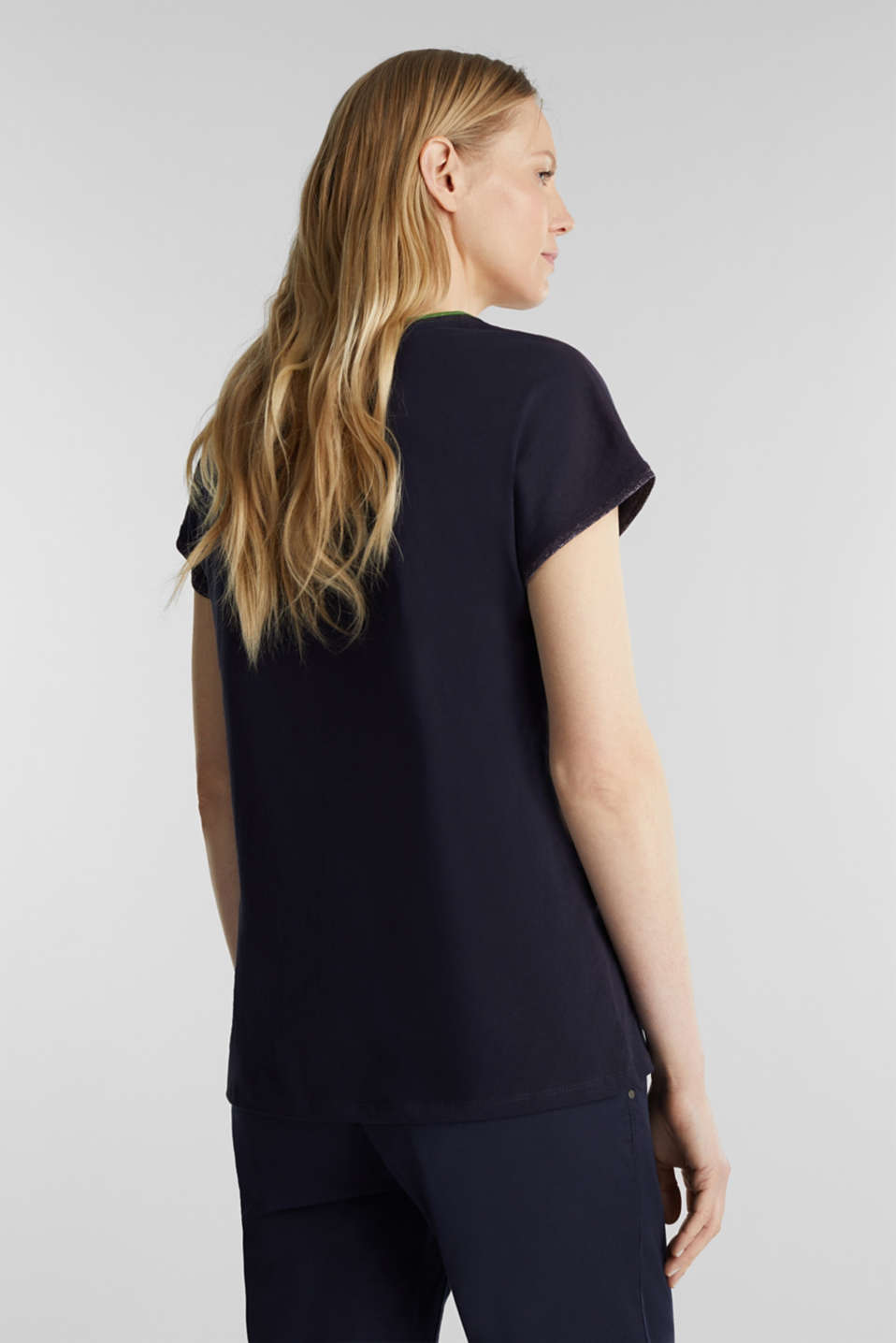 T-shirt with glittering trims, 100% cotton, NAVY, detail image number 3