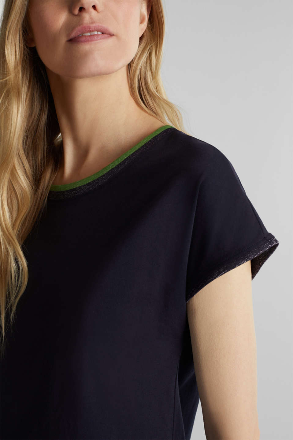 T-shirt with glittering trims, 100% cotton, NAVY, detail image number 2