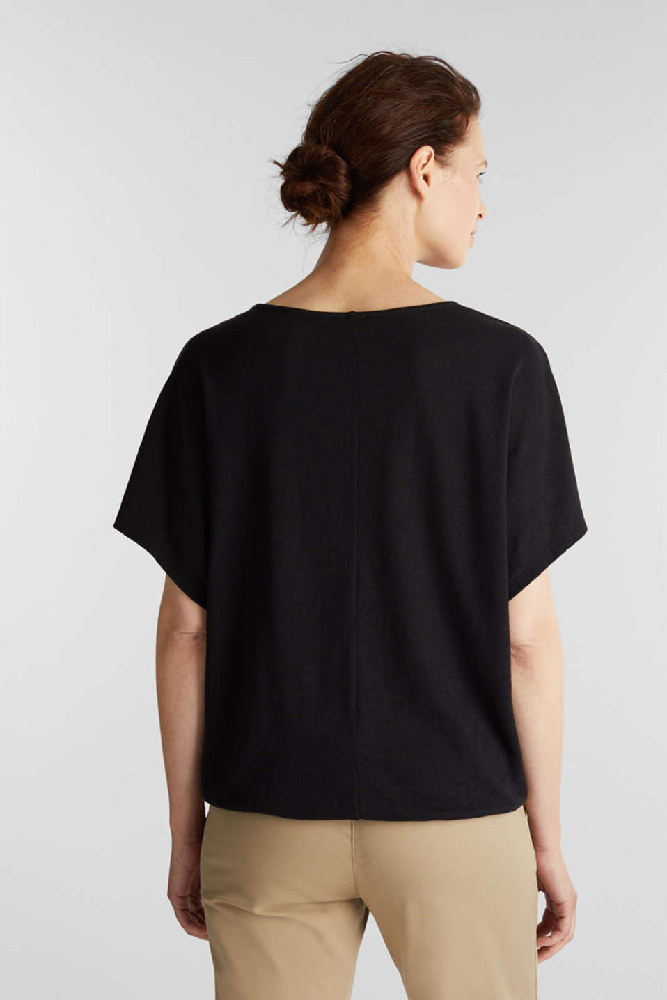 Blended linen top with an elasticated waistband, BLACK, detail image number 3
