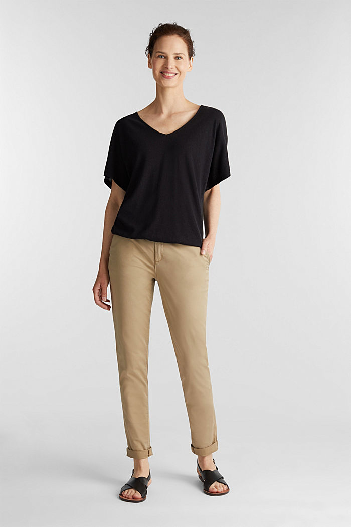 Blended linen top with an elasticated waistband, BLACK, detail image number 1