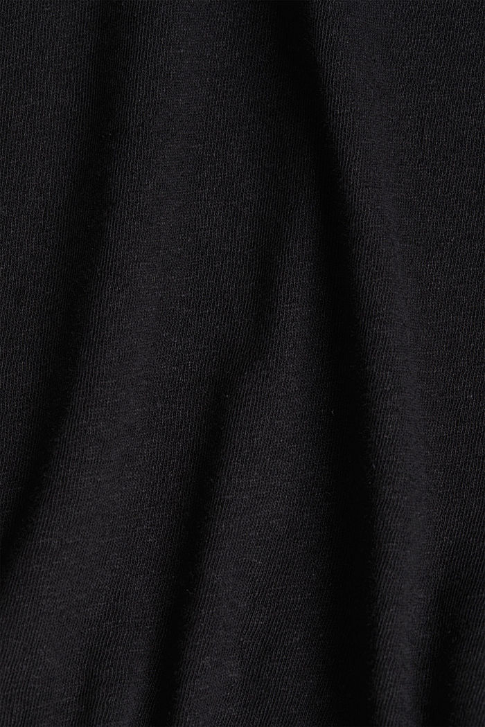 Blended linen top with an elasticated waistband, BLACK, detail image number 4