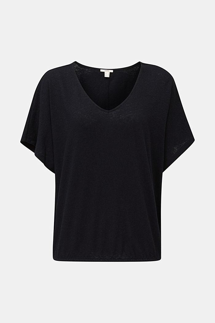 Aus Leinen-Mix: Shirt mit Gummizug