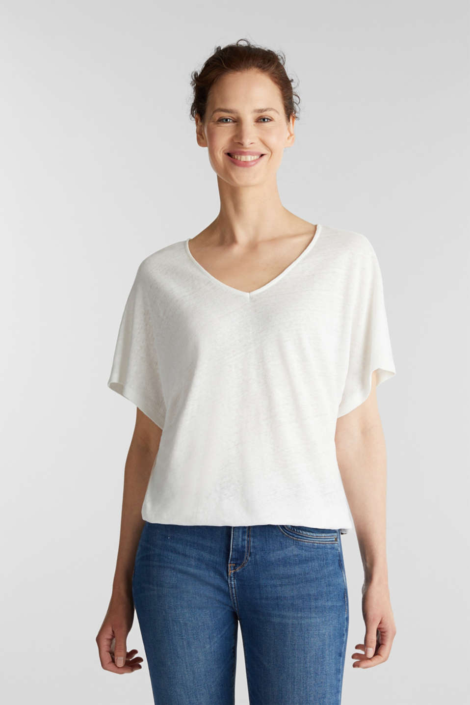 Blended linen top with an elasticated waistband, OFF WHITE, detail image number 0