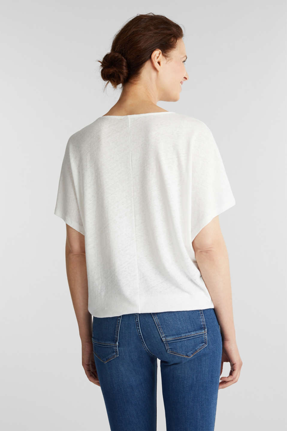 Blended linen top with an elasticated waistband, OFF WHITE, detail image number 3