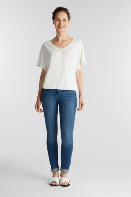 Blended linen top with an elasticated waistband, OFF WHITE, detail