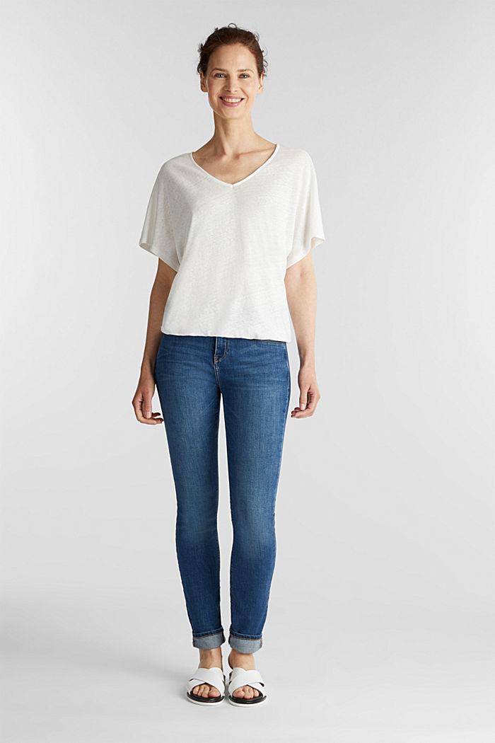 Pellavasekoitetta: kuminauhallinen paita, OFF WHITE, detail image number 1