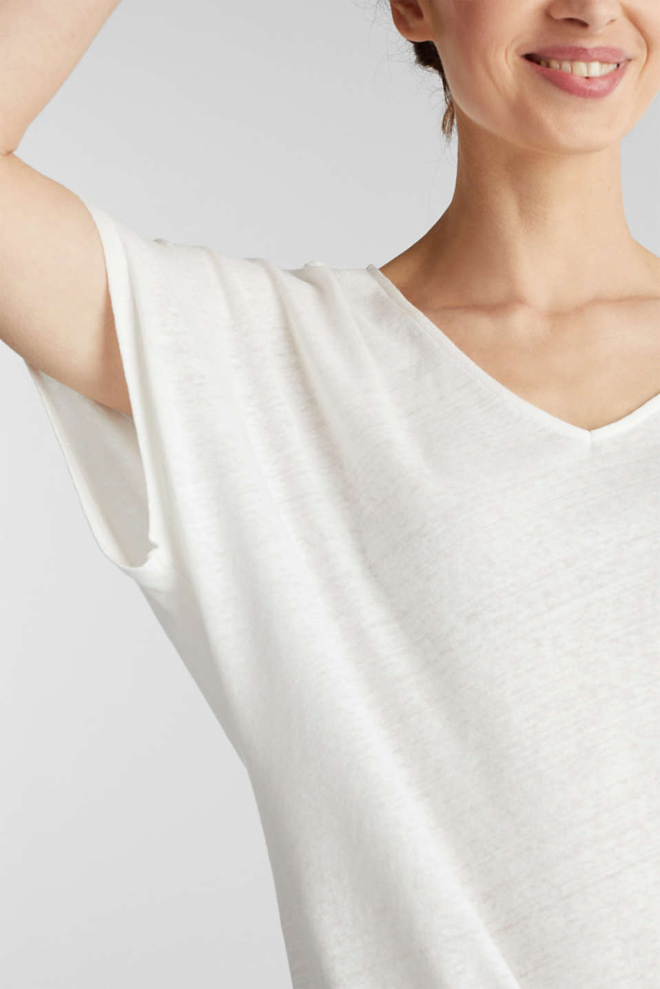 Blended linen top with an elasticated waistband, OFF WHITE, detail image number 2