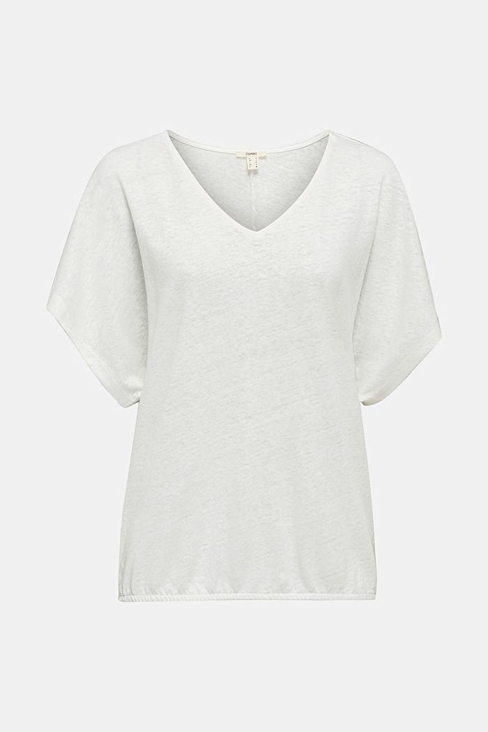 Pellavasekoitetta: kuminauhallinen paita, OFF WHITE, detail image number 5