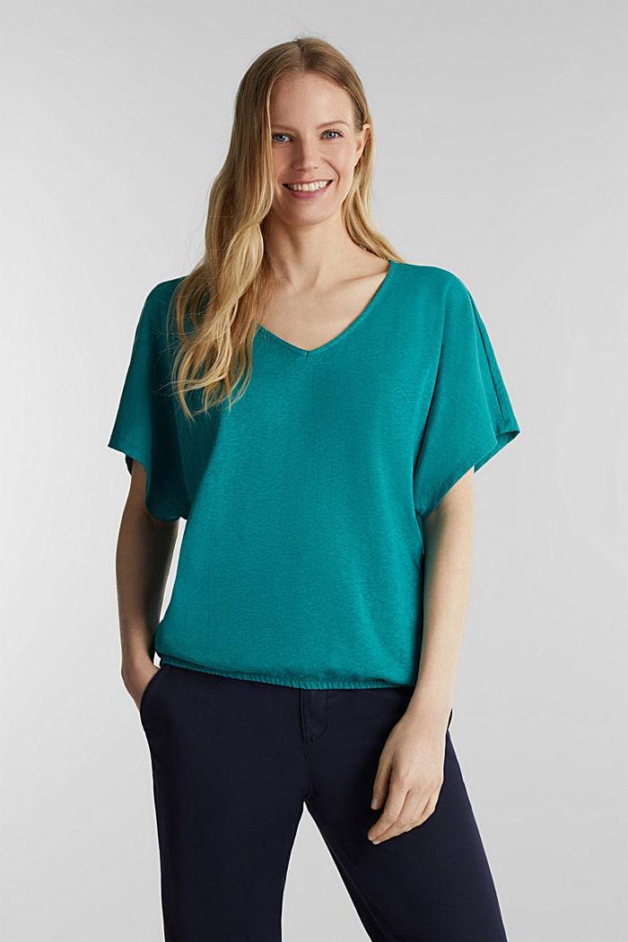 En mezcla de lino: camiseta con cinta elástica, TEAL GREEN, detail image number 0