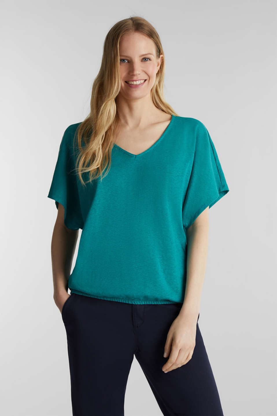 Blended linen top with an elasticated waistband, TEAL GREEN, detail image number 0