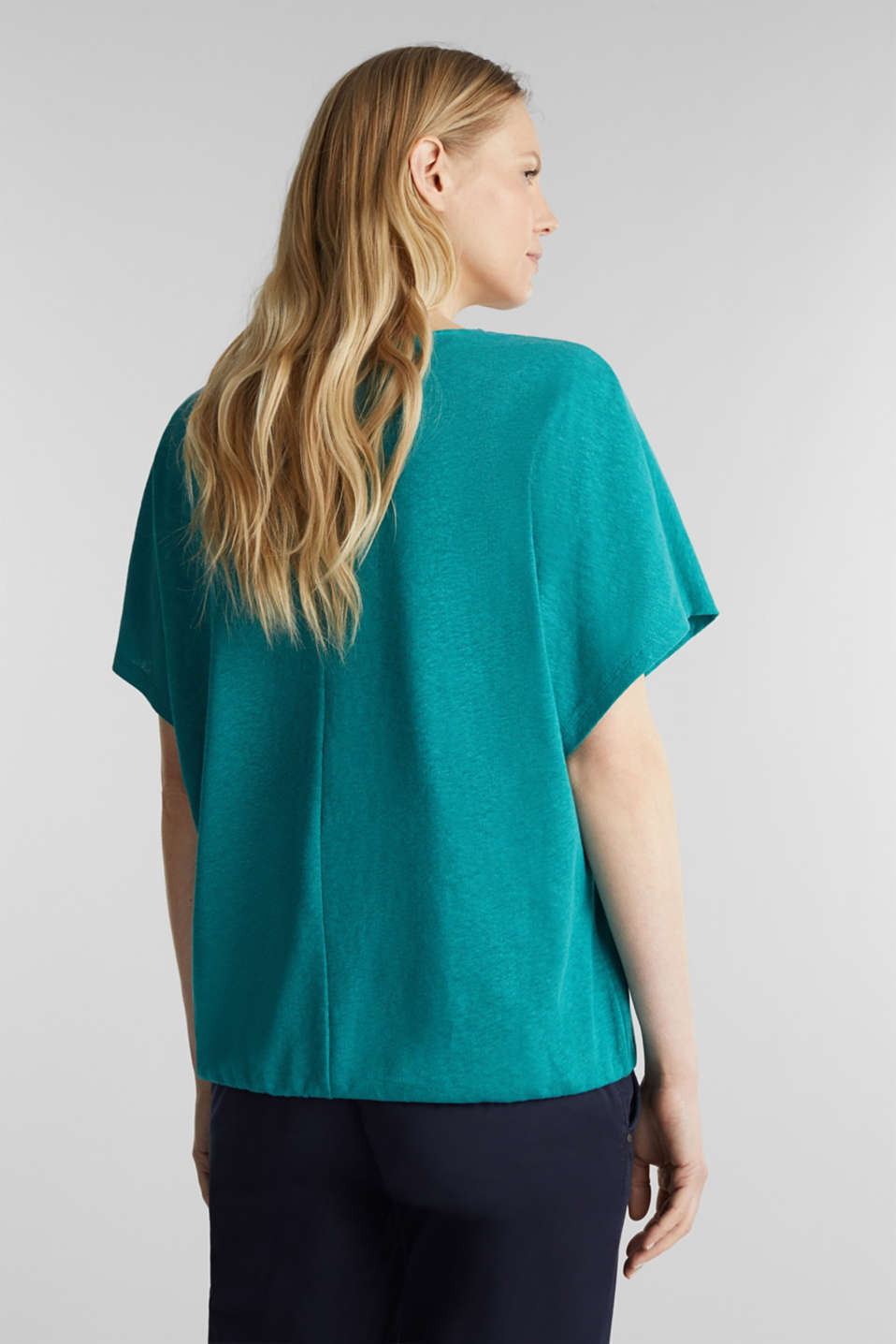 Blended linen top with an elasticated waistband, TEAL GREEN, detail image number 3